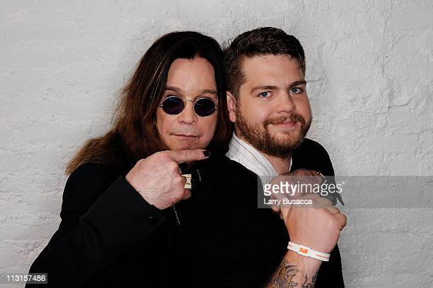 Ozzy Osbourne and son producer Jack Osbourne visit the Tribeca Film Festival 2011 portrait studio on April 25 2011 in New York City