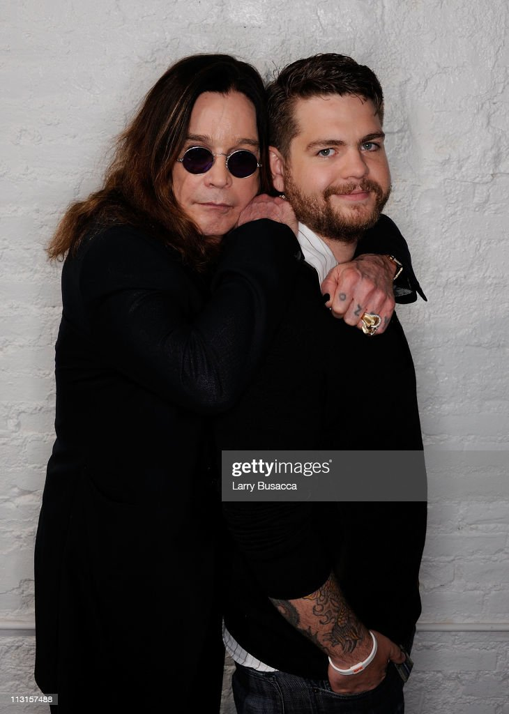 Ozzy Osbourne and son, producer Jack Osbourne visit the Tribeca Film Festival 2011 portrait studio on April 25, 2011 in New York City.
