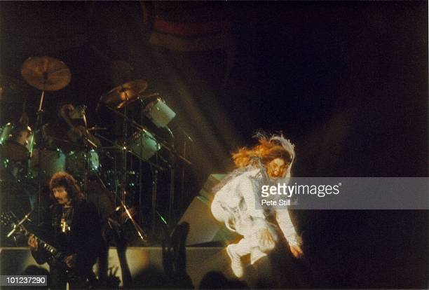 Ozzy Osbourne of Black Sabbath does his trademark 'leap' while performing on stage on the 'Never Say Die' tour at Hammersmith Odeon on June 10th 1978...
