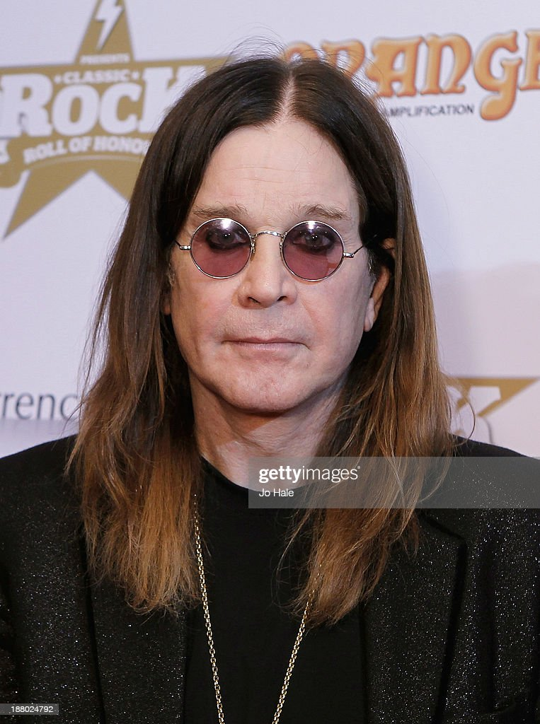 <a gi-track='captionPersonalityLinkClicked' href=/galleries/search?phrase=Ozzy+Osbourne&family=editorial&specificpeople=138608 ng-click='$event.stopPropagation()'>Ozzy Osbourne</a> of Black Sabbath poses at the boards at the Classic Rock Roll of Honour at The Roundhouse on November 14, 2013 in London, England.