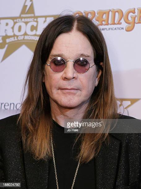 Ozzy Osbourne of Black Sabbath poses at the boards at the Classic Rock Roll of Honour at The Roundhouse on November 14 2013 in London England