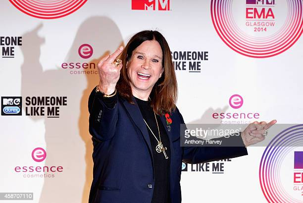 Ozzy Osbourne poses in the winners room at the MTV EMA's 2014 after winning the Global Icon award at The Hydro on November 9 2014 in Glasgow Scotland