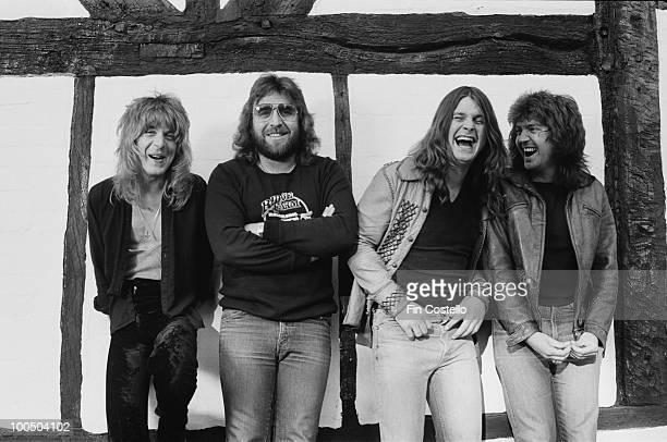 Ozzy Osbourne records his 'Blizzard of Ozz' album at Ridge Farm Studio 1980 From left to right guitarist Randy Rhoads drummer Lee Kerslake Ozzy...