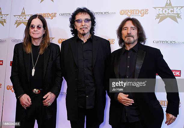Ozzy Osbourne Tony Iomi and Geezer Butler of Black Sabbath attend the Classic Rock Roll of Honour at The Roundhouse on November 14 2013 in London...
