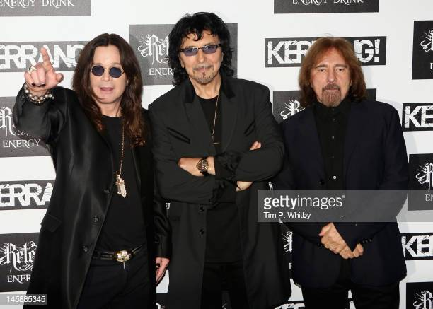 Ozzy Osbourne Tony Iommi and Geezer Butler of Black Sabbath attend the Kerrang Awards at The Brewery on June 7 2012 in London England