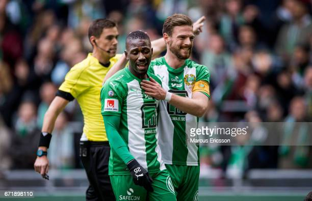 Pa Amat Dibba and Arnór Smárason of Hammarby IF during the Allsvenskan match between Hammarby IF and GIF Sundsvall at Tele2 Arena on April 23 2017 in...