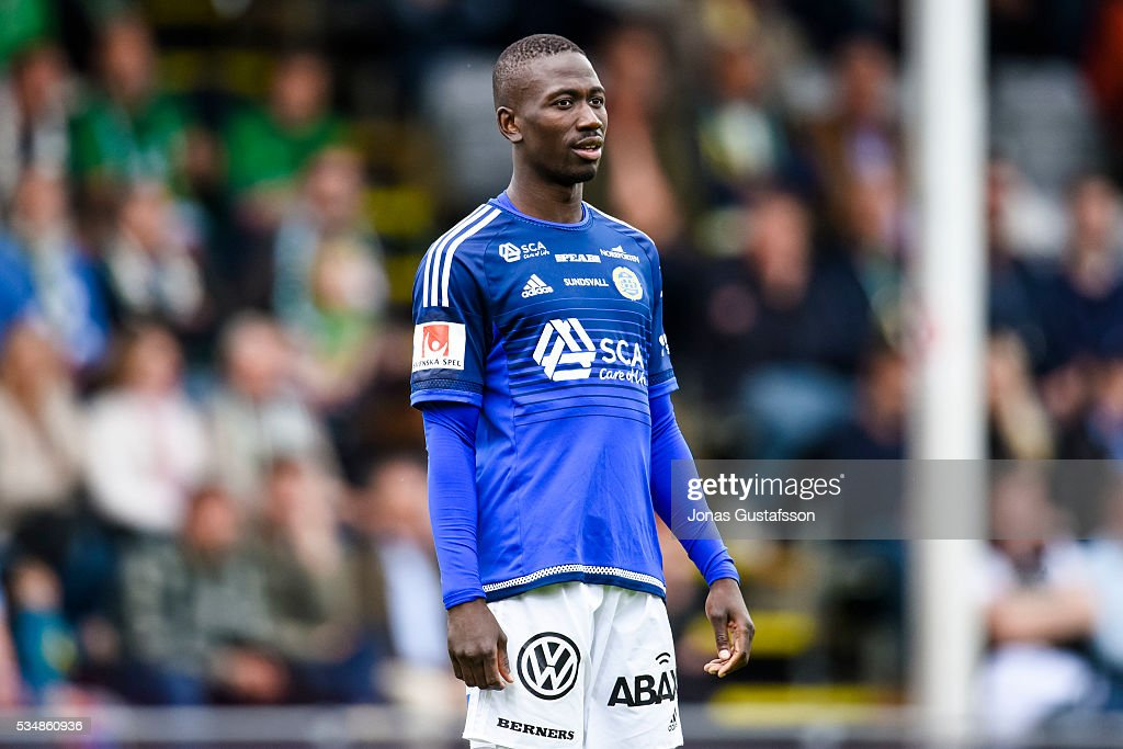 Pa Amat Dibba of GIF Sundsvall during the allsvenskan match between Jonkopings Sodra IF and GIF Sundsvall at Stadsparksvallen on May 28, 2016 in Jonkoping, Sweden.