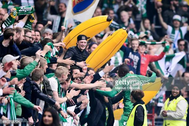 Pa Amat Dibba of Hammarby IF and fans of Hammarby IF celebrates after scoring 21 during the Allsvenskan match between Hammarby IF and Djurgardens IF...