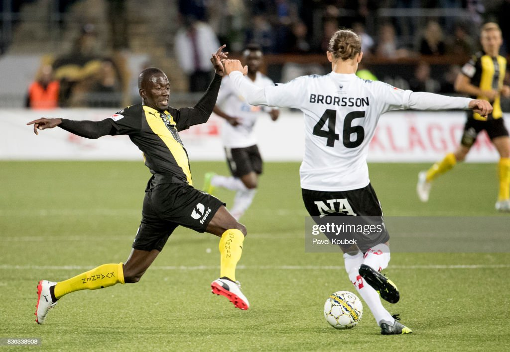 Pa Amat Dibba of Hammarby IF & Arvid Brorsson during the Allsvenskan match between Orebro SK and Hammarby IF at Behrn Arena on August 21, 2017 in Orebro, Sweden.