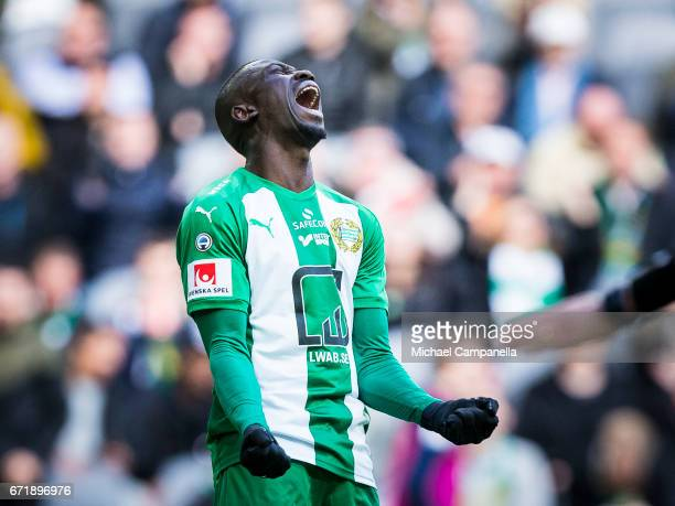 Pa Dibba of Hammarby IF angry after a failed chance on goal during an Allsvenskan match between Hammarby IF and GIF Sundsvall at Tele2 Arena on April...