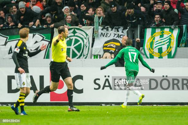 Pa Dibba of Hammarby IF celebrates scoring the 12 wining goal during an Allsvenskan match between AIK and Hammarby IF at Friends arena on April 17...