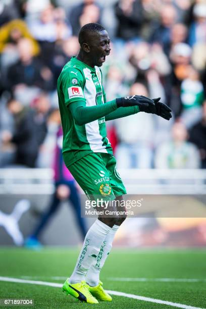 Pa Dibba of Hammarby IF disappointed after a failed chance on goal during an Allsvenskan match between Hammarby IF and GIF Sundsvall at Tele2 Arena...