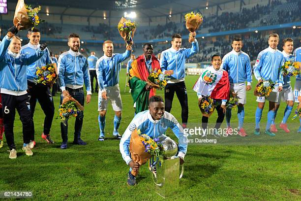 Pa Konate of Malmo FF after the Allsvenskan match between Malmo FF and Hammarby IF at Swedbank Stadion on November 6 2016 in Malmo Sweden