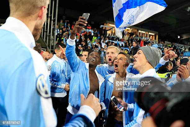 Pa Konate of Malmo FF Franz Brorsson of Malmo FF and Tobias Sana of Malmo FF during the Allsvenskan match between Falkenbergs FF and Malmo FF at...