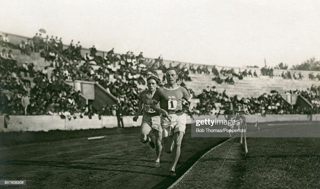 Paavo Nurmi of Finland (1) wins the 2nd semi-final of the men's 500 metres race with Lucien Duquesne of France second at the Stade Colombes during the Summer Oympic Games in Paris on 9th July 1924. Nurmi went on to win the gold medal in the final in an Olympic record time of 14:31.2.