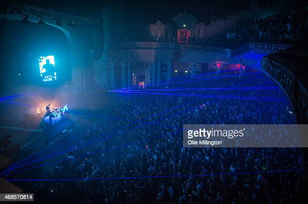 Paavo Siljam and Jono Grant of Above and Beyond perform on stage during the first of two soldout night at Brixton Academy on April 3 2015 in London...