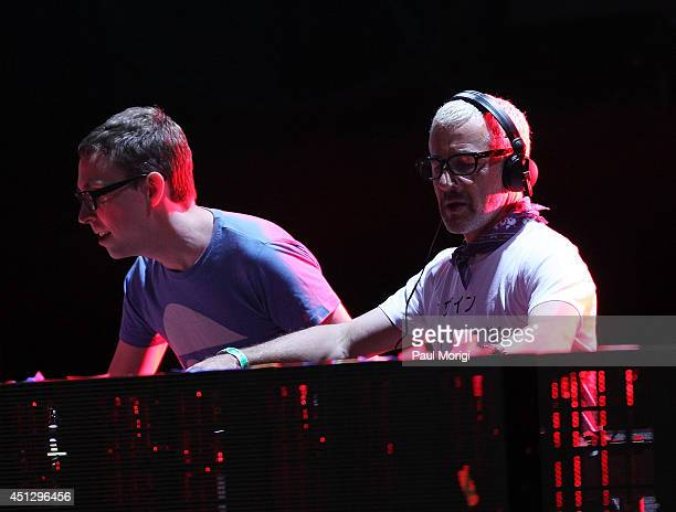 Paavo Siljamaki and Tony McGuinness of Above Beyond perform at The Global Poverty Project's 'THANK YOU FESTIVAL' at Merriweather Post Pavillion on...