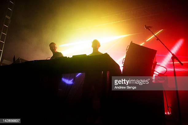 Paavo Siljamaki and Tony McGuinness of Above Beyond perform on stage at O2 Academy on April 13 2012 in Leeds United Kingdom