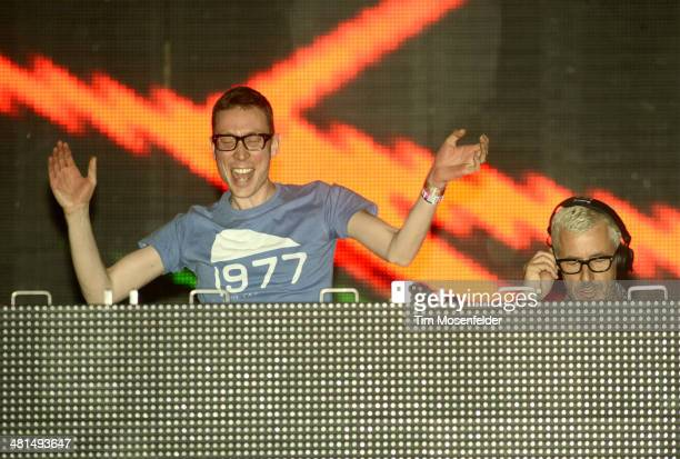 Paavo Siljamäki and Tony McGuinness of Above Beyond perform during the Ultra Music Festival at Bayfront Park Amphitheater on March 29 2014 in Miami...
