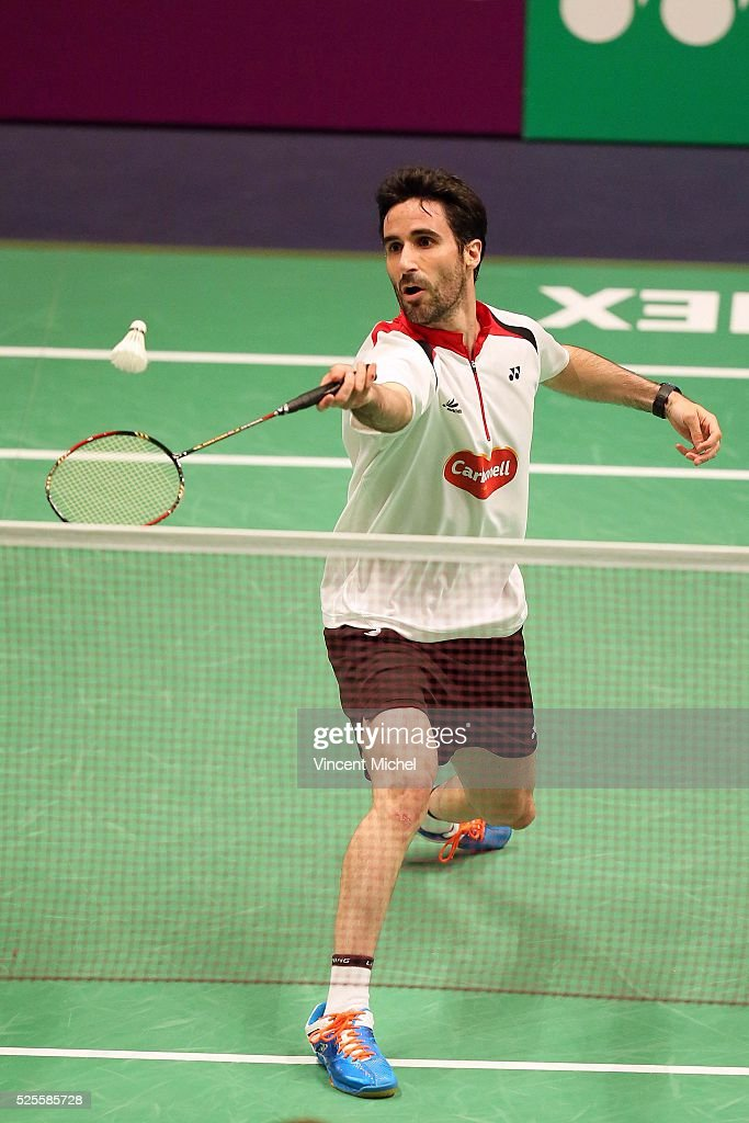 Pablo Abian of Spain during Men's singles match at the 2016 Badminton European Championships on April 28, 2016 in Mouilleron-le-Captif, France.