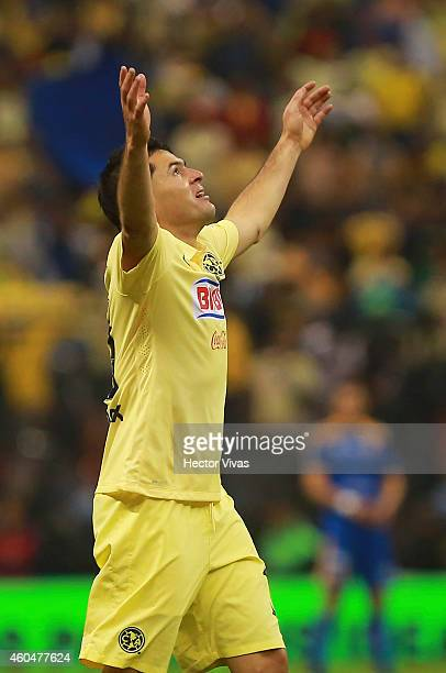 Pablo Aguilar of America celebrates after scoring the second goal of his team during a Final second leg match between America and Tigres UANL as part...
