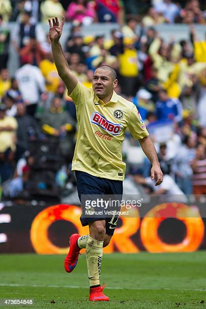 Pablo Aguilar of America celebrates after scoring the second goal of his team during a quarterfinal second leg match between America and Pachuca as...