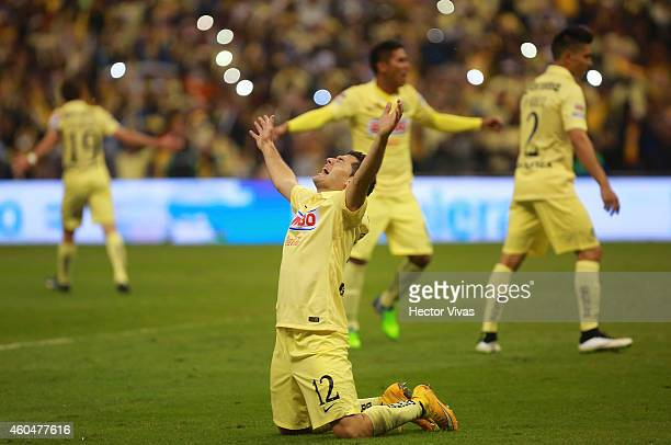 Pablo Aguilar of America celebrates the victory after a Final second leg match between America and Tigres UANL as part of the Apertura 2014 Liga MX...
