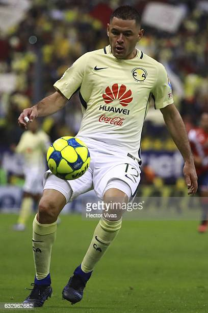 Pablo Aguilar of America drives the ball during the 4th round match between America and Veracruz as part of the Torneo Clausura 2017 Liga MX at...