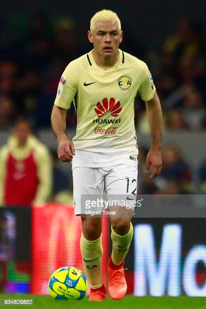 Pablo Aguilar of America drives the ball during the 6th round match between America and Puebla as part of the Torneo Clausura 2017 Liga MX at Azteca...