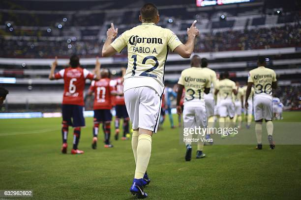 Pablo Aguilar of America enters to the field during the 4th round match between America and Veracruz as part of the Torneo Clausura 2017 Liga MX at...