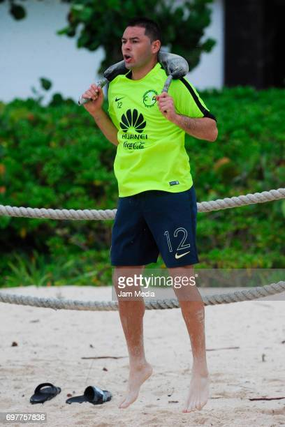 Pablo Aguilar of America trains in the sand during the Pre Season training for the Torneo Apertura 2017 Liga MX at Playa del Carmen Beach on June 19...