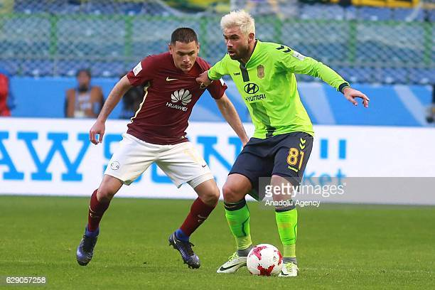 Pablo Aguilar of Club America and Edu of Jeonbuk Hyundai in action during the second round match between Jeonbuk Hyundai and Club America as part of...