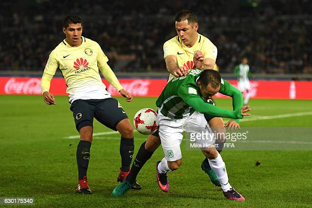 Pablo Aguilar of Club America pushes Alejandro Guerra of Atletico Nacional during the FIFA Club World Cup 3rd Place match between Club America and...
