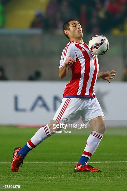 Pablo Aguilar of Paraguay controls the ball during the 2015 Copa America Chile quarter final match between Brazil and Paraguay at Ester Roa Rebolledo...