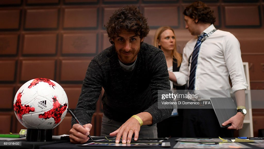 Pablo Aimar of Argentina signs prints prior to The Best FIFA Football Awards at Kameha Zurich Hotel on January 9, 2017 in Zurich, Switzerland.