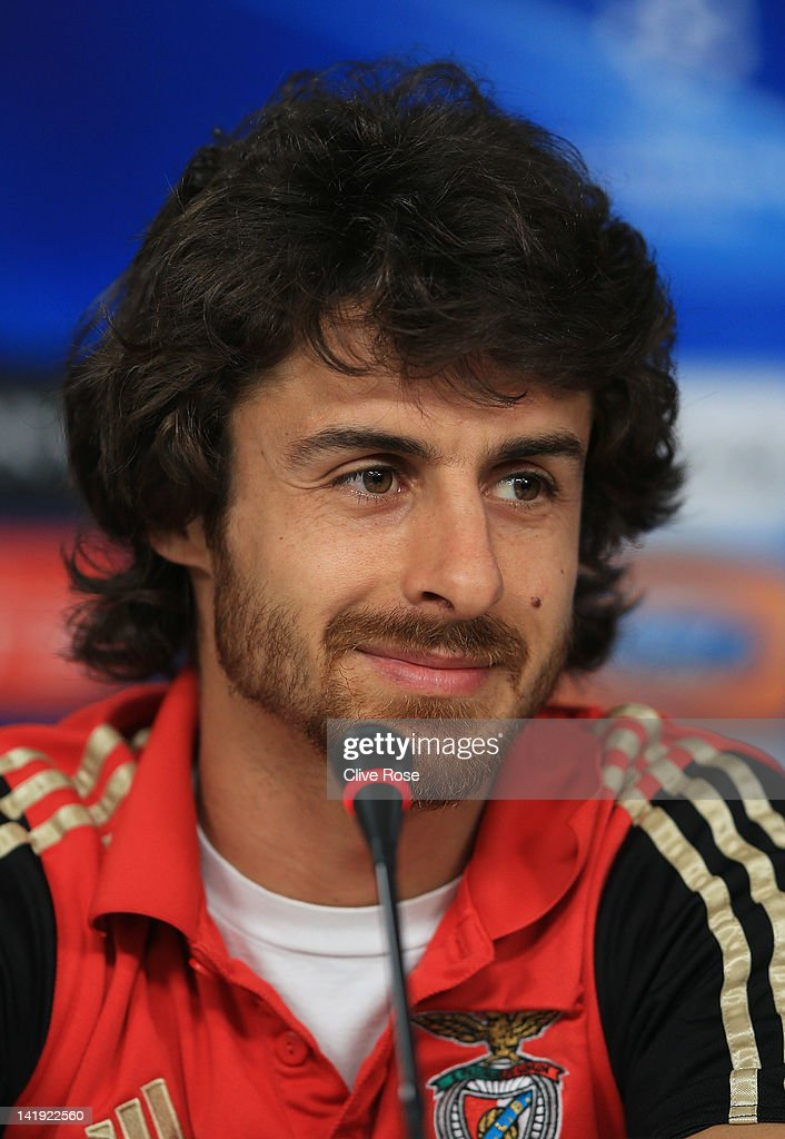 Pablo Aimar of Benfica smiles during a press conference ahead of the UEFA Champions League Quarter Final first leg match between Benfica and Chelsea at Estadio da Luz on March 26, 2012 in Lisbon, Portugal.