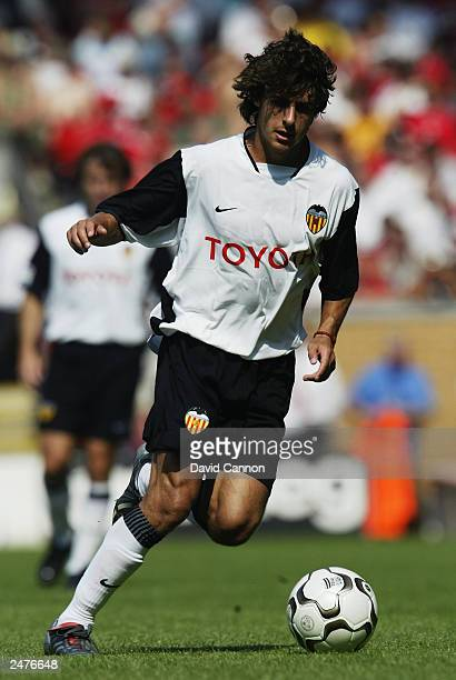 Pablo Aimar of Valencia running with the ball during the friendly match between Liverpool and Valencia on August 9 2003 at The Anfield Stadium in...