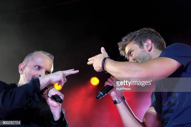 Pablo Alboran and Miguel Bose performs during his concert in Madrid at the Palacio de los Deportes June 23 2017