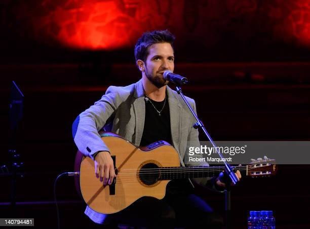 Pablo Alboran performs on stage at the Palau de Musica during the 13th annual Millenni Festival on March 6 2012 in Barcelona Spain