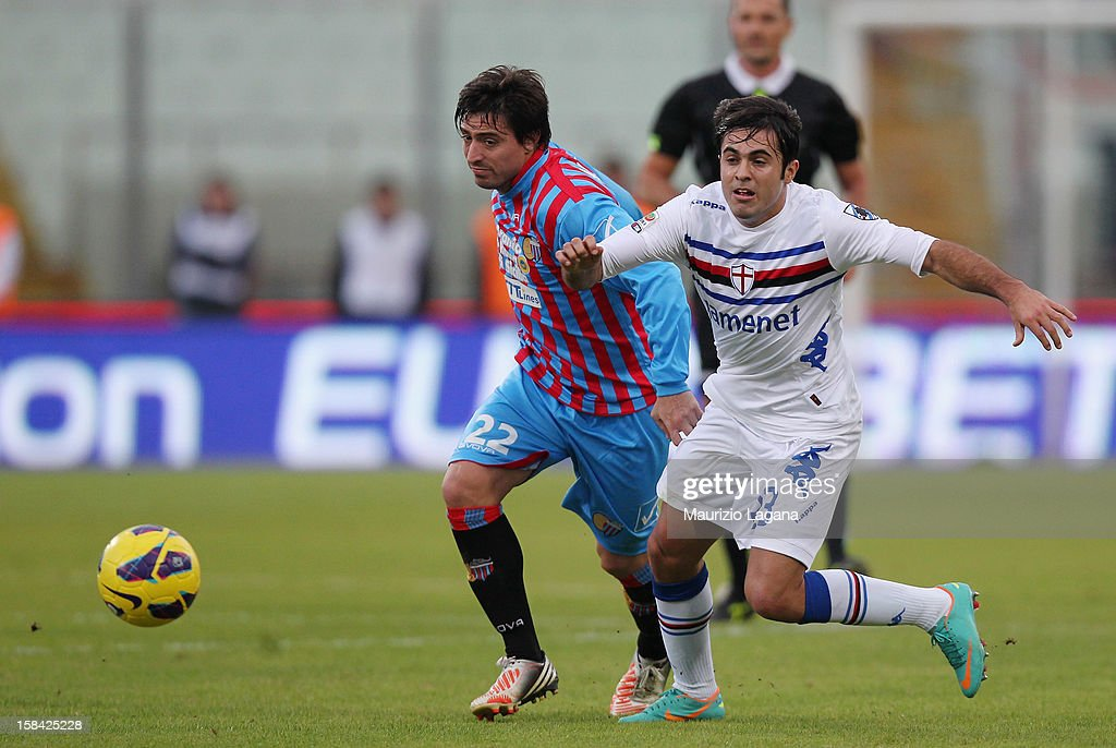 Pablo Alvarez (L) of Catania competes for the ball with Citadin Eder of Sampdoria during the Serie A match between Calcio Catania and UC Sampdoria at Stadio Angelo Massimino on December 16, 2012 in Catania, Italy.