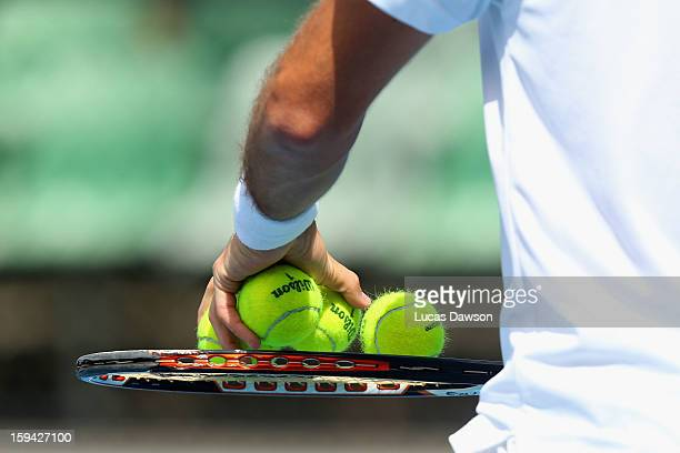 Pablo Andujar of Spain prepares to serve in his first round match against Xavier Malisse of Belgium during day one of the 2013 Australian Open at...