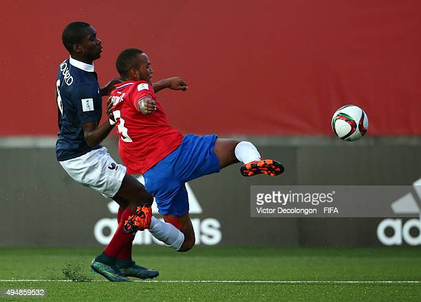 Pablo Arboine of Costa Rica and Odsonne Edouard of France vie for the ball during the France v Costa Rica Round of 16 FIFA U17 World Cup Chile 2015...