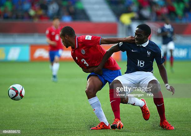 Pablo Arboine of Costa Rica wins the ball from Nanitamo Ikone of France during the France v Costa Rica Round of 16 FIFA U17 World Cup Chile 2015...