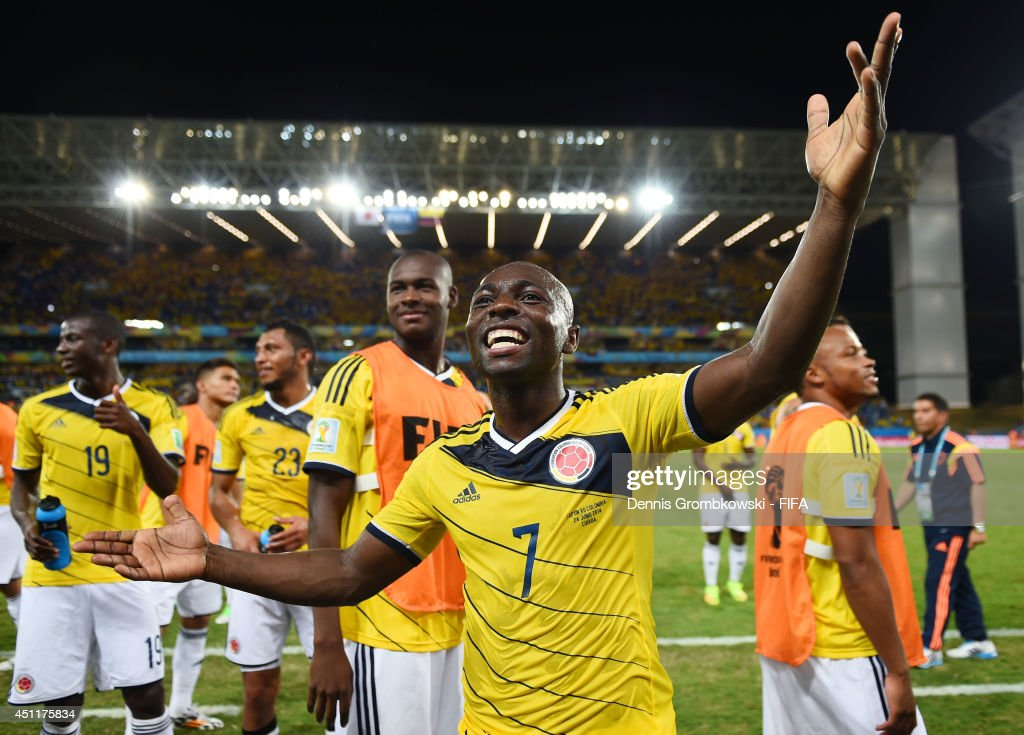 <a gi-track='captionPersonalityLinkClicked' href=/galleries/search?phrase=Pablo+Armero&family=editorial&specificpeople=631297 ng-click='$event.stopPropagation()'>Pablo Armero</a> and Colombia players celebrate the 4-1 win after the 2014 FIFA World Cup Brazil Group C match between Japan and Colombia at Arena Pantanal on June 24, 2014 in Cuiaba, Brazil.