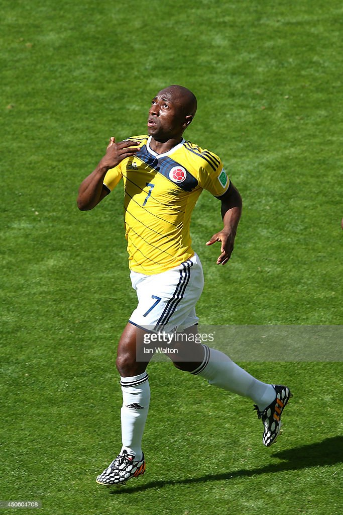 <a gi-track='captionPersonalityLinkClicked' href=/galleries/search?phrase=Pablo+Armero&family=editorial&specificpeople=631297 ng-click='$event.stopPropagation()'>Pablo Armero</a> of Colombia celebrates after scoring his team's first goal during the 2014 FIFA World Cup Brazil Group C match between Colombia and Greece at Estadio Mineirao on June 14, 2014 in Belo Horizonte, Brazil.