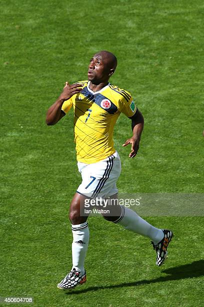 Pablo Armero of Colombia celebrates after scoring his team's first goal during the 2014 FIFA World Cup Brazil Group C match between Colombia and...