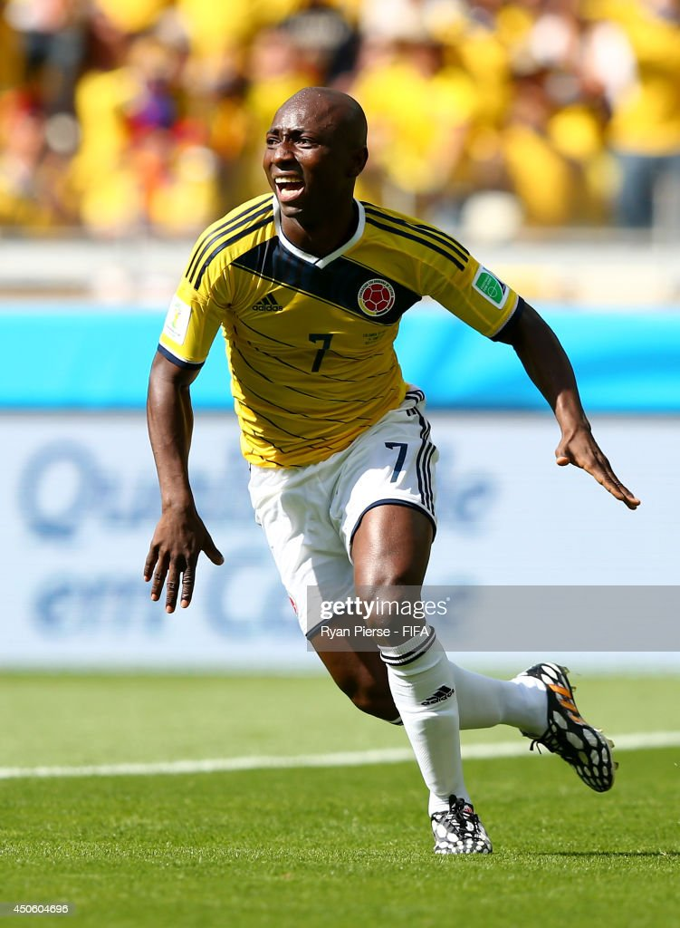 Pablo Armero of Colombia celebrates after scoring the opening goal during the 2014 FIFA World Cup Brazil Group C match between Colombia and Greece at Estadio Mineirao on June 14, 2014 in Belo Horizonte, Brazil.