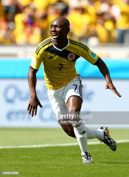 Pablo Armero of Colombia celebrates after scoring the opening goal during the 2014 FIFA World Cup Brazil Group C match between Colombia and Greece at...