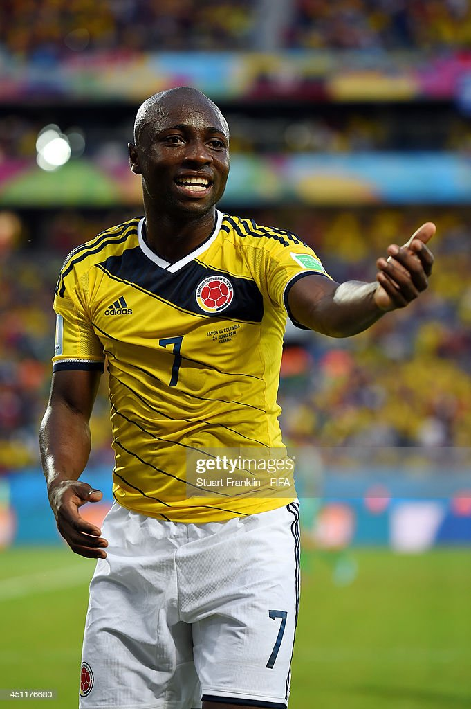 <a gi-track='captionPersonalityLinkClicked' href=/galleries/search?phrase=Pablo+Armero&family=editorial&specificpeople=631297 ng-click='$event.stopPropagation()'>Pablo Armero</a> of Colombia celebrates after the 2014 FIFA World Cup Brazil Group C match between Japan and Colombia at Arena Pantanal on June 24, 2014 in Cuiaba, Brazil.