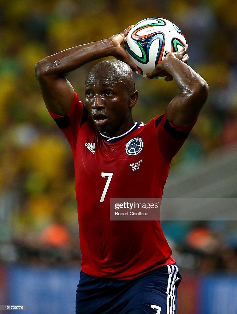 <a gi-track='captionPersonalityLinkClicked' href=/galleries/search?phrase=Pablo+Armero&family=editorial&specificpeople=631297 ng-click='$event.stopPropagation()'>Pablo Armero</a> of Colombia prepares for a throw in during the 2014 FIFA World Cup Brazil Quarter Final match between Brazil and Colombia at Castelao on July 4, 2014 in Fortaleza, Brazil.